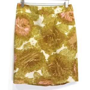 Talbots Size 8P Yellow Floral Pencil Slim Skirt